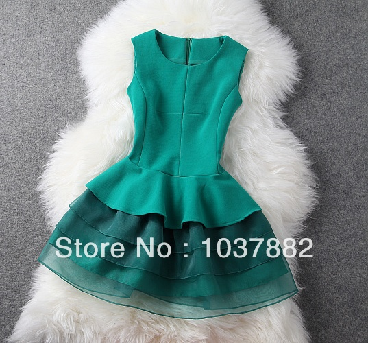 FREE SHIPPING new women 2014 Spring/Autumn Hot  dress fashion Organza Height repair quality stitching was thin dress 10-in Dresses from Apparel & Accessories on Aliexpress.com