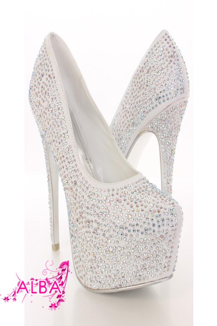 White Rhinestone Platform Pump Heels @ Amiclubwear Heel Shoes online store sales:Stiletto Heel Shoes,High Heel Pumps,Womens High Heel Shoes,Prom Shoes,Summer Shoes,Spring Shoes,Spool Heel,Womens Dress Shoes,Prom Heels,Prom Pumps,High Heel Sandals,Cheap Dr