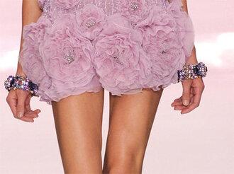 dress roses runway designer pink purple embroidery