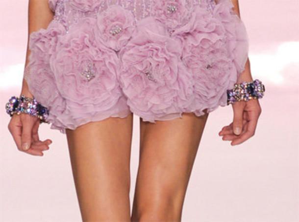dress roses runway designer pink purple embroidered