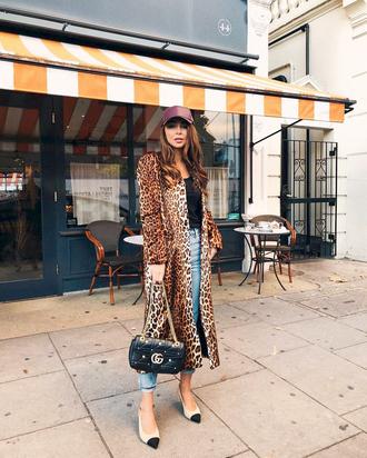 coat tumblr leopard print denim jeans blue jeans cropped jeans bag black bag shoes hat cap