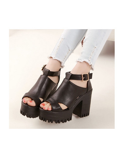 Black leather chunky shoes platform heels