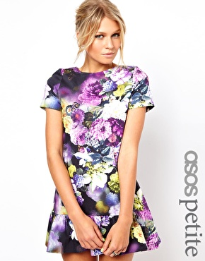 ASOS Petite | ASOS PETITE Exclusive Floral Mini Dress With Ultra Drop Waist at ASOS