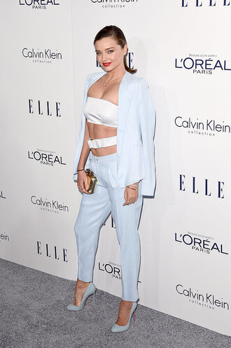 top crop tops pants miranda kerr suit blazer bag clutch