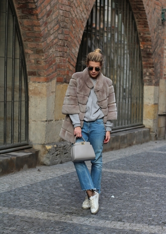 coat tumblr winter coat fur coat sweater grey sweater jeans denim blue jeans cropped jeans sneakers white sneakers low top sneakers bag grey bag sunglasses
