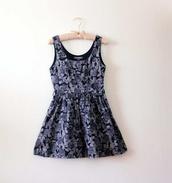 dress,tea dress,floral,purple,swing dress