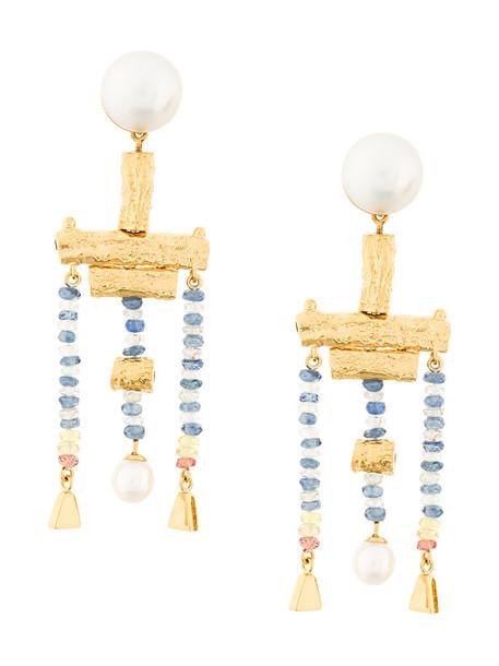 LUCY FOLK metal women earrings gold grey metallic jewels