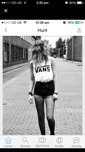 top vans white black shorts tights jewels