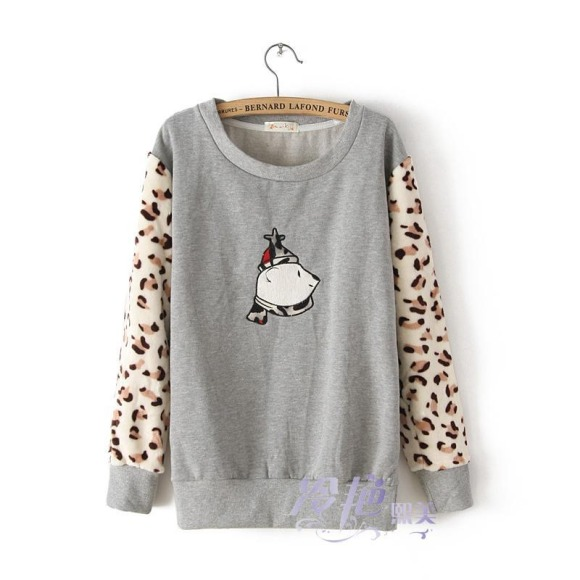 Cute Bear Plush Leopard Thickened Mosaic Hoodie [#341] on Luulla