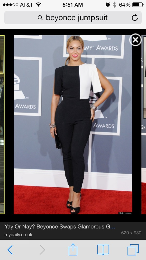 ef08b01c3e56 2013 Grammys Beyonce Knowles Round Neck Black And White Designer ...