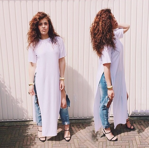 white or black long shirt shirt
