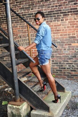 skinny hipster blogger black heels denim denim shorts denim shirt louboutin patent shoes