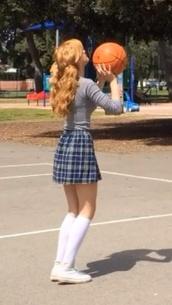skirt,bella thorne,bella,plaid,plaid skirt,blue skirt,old school,school uniform,shirt,red hair,underwear