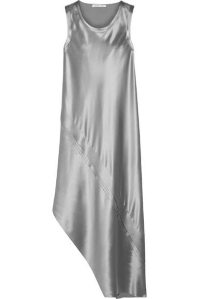 Helmut Lang dress midi dress midi silver silk satin