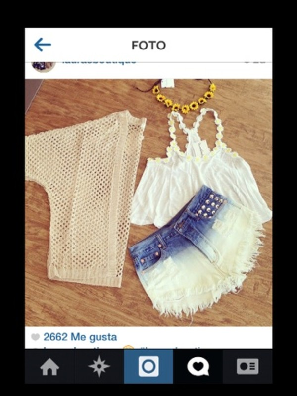 blouse shorts jewels