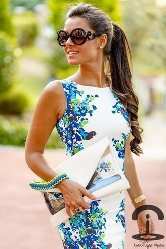 dress white dress formal blue and white white and blue dress blue flowers sunglasses black black sunglasses prada prada sunglasses baroque sunglasses blue blue dress floral dress bag