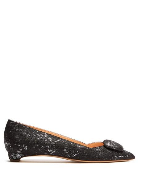 Rupert Sanderson flats silver black shoes