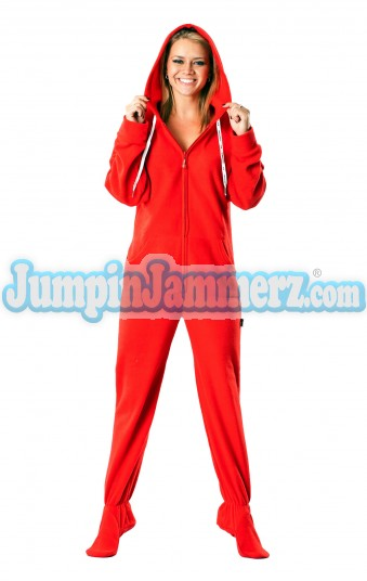 Candy apple red footed onesie