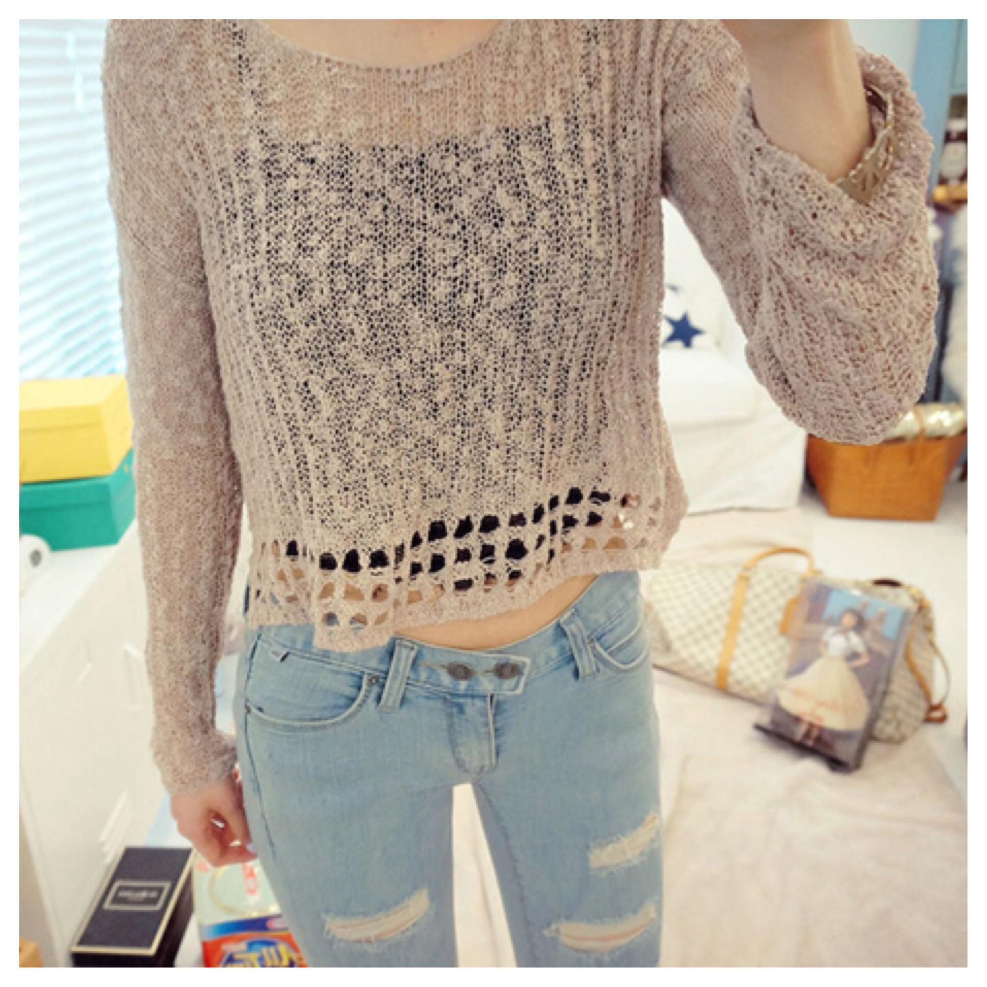Cute crochet knit crop sweater/top from doublelw on storenvy