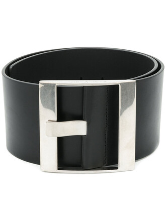 women classic belt leather black