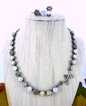 jewels,swrovski necklace,crystal quartz,swarovski jewelry,swarovski crystal,crystal and pearl necklace,white opal necklace,neutral tones,neutral colors,neutral color jewelry,sparkly necklace,white opal and light colorado topaz,crystal golden shadow,8mm crystal necklace,trendy necklace,victorian style necklace,victorian style,vintage style,romantic necklace,romantic,wedding jewelry,gifts for her,gifts for mom,anniversary gift,birthday gift for her,christmas gift for her,hannukah gift,gifts for daugher,gifts for aunt,fancy necklace,ooak,unique hand made jewelry,designer jewelry,trendsetter,bling,fahsion accessories,fall outfits,fall fashioinista,trendy crystal jewelry,fall fashion accessory,fashionista
