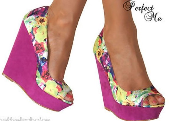 floral shoes girly floralshoe floral high heels summershoe prettyshoes wedges