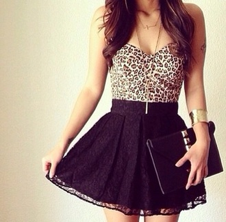 dress leopard print skirt top black lace blouse