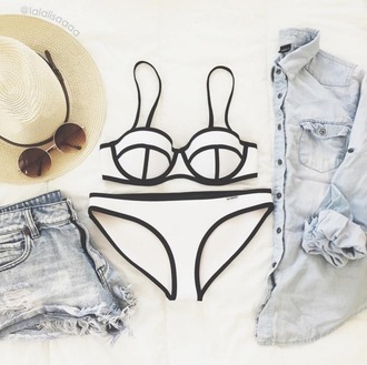 swimwear summer summer outfits instagram tumblr hipster boho boho chic white hat sunglasses short shorts indie tumblr outfit tumblr bikini bikini bikini top bikini bottoms white swimwear tropical outfit outfit idea sexy bikini neon