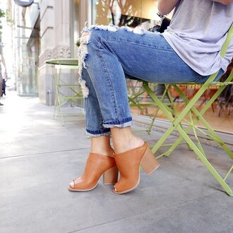 shoes mules mule brown date outfit outfit idea boyfriend jeans first date ootd sotd gojane