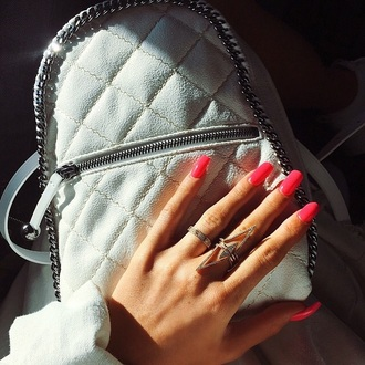 bag white backpack kylie jenner kendall jenner quilted bag jewels