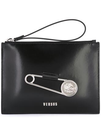 women clutch leather cotton black bag
