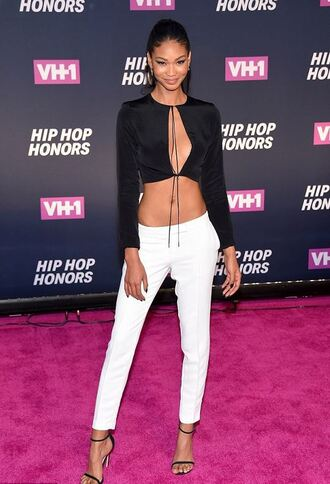 pants sandals chanel iman crop tops top summer top blouse model off-duty