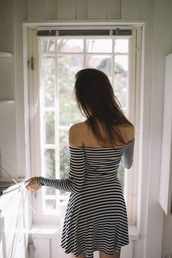 dress,tumblr,mini dress,stripes,striped dress,off the shoulder,off the shoulder dress,long sleeves,long sleeve dress,spring outfits,spring dress