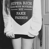 sweater,black,white,short,shorts,fake,fake friends,kids fashion,hoodie,cute,letters,print