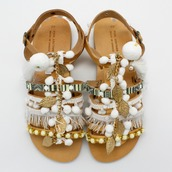 shoes,sandals,sandal heels,boho,boho chic,greek sandals,pom poms,pom pom,gladiators,flat gladiator sandals