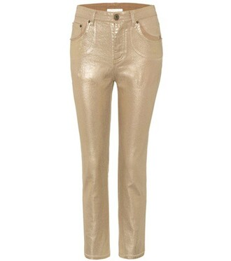 jeans cropped jeans cropped metallic gold