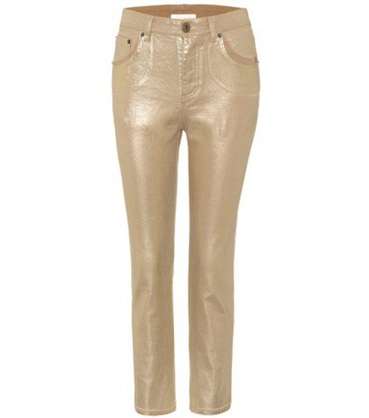 Chloe jeans cropped jeans cropped metallic gold