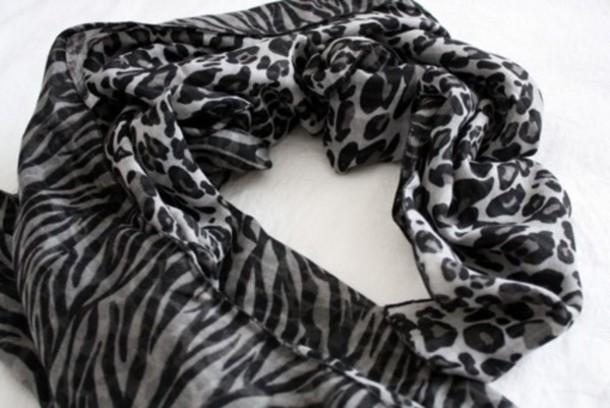 scarf zebra silk leopard print