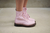 shoes,boots,pink,light pink,laces,pink laces,DrMartens,grunge,pastel,hipster,soft grunge,pastel grunge,pink shoes,wetseal,cute,girl,summer,combat boots,pink combat boots,goth,pastel goth,shorts,doc marten