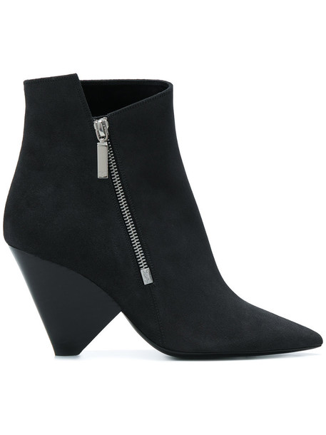 zip women leather suede grey shoes