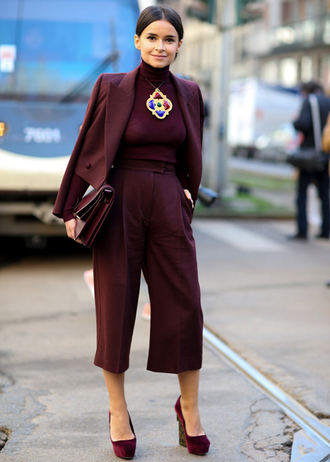 pants work outfits office outfits cropped pants culottes palazzo pants wide-leg pants high waisted pants burgundy burgundy pants top turtleneck burgundy top blazer burgundy blazer bag burgundy bag wedges high heels burgundy shoes necklace miroslava duma streetstyle winter work outfit