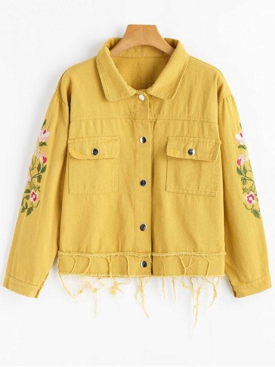 Floral Patched Frayed Hem Denim Jacket