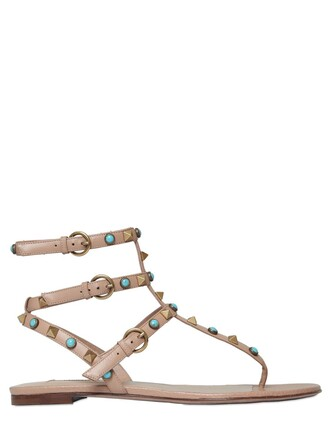 sandals leather sandals leather beige turquoise shoes
