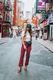 thegirlintheyellow dress,blogger,pants,t-shirt,shoes,hat,sunglasses