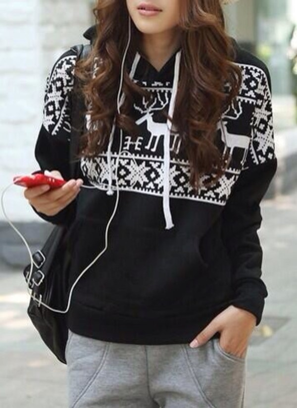 sweater black winter sweater christmas sweat motifs