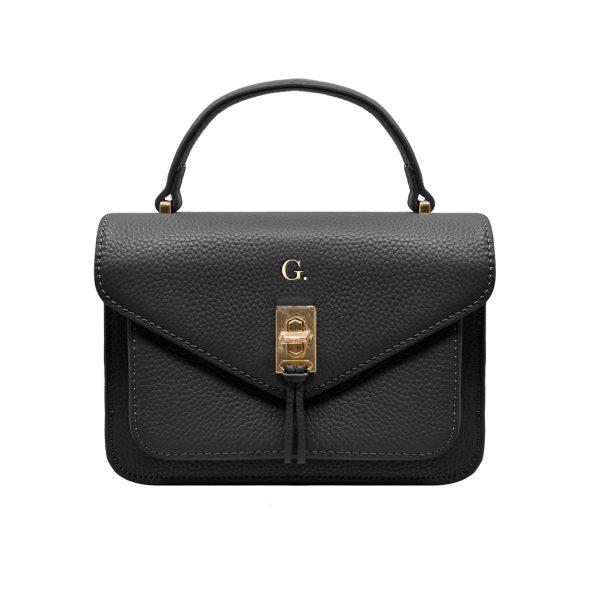 Grainy Black Oxford Bag (Gold Metal Detail)