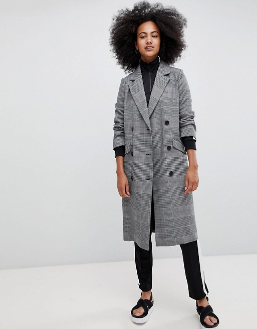 Monki check tailored lightweight coat in grey at asos.com