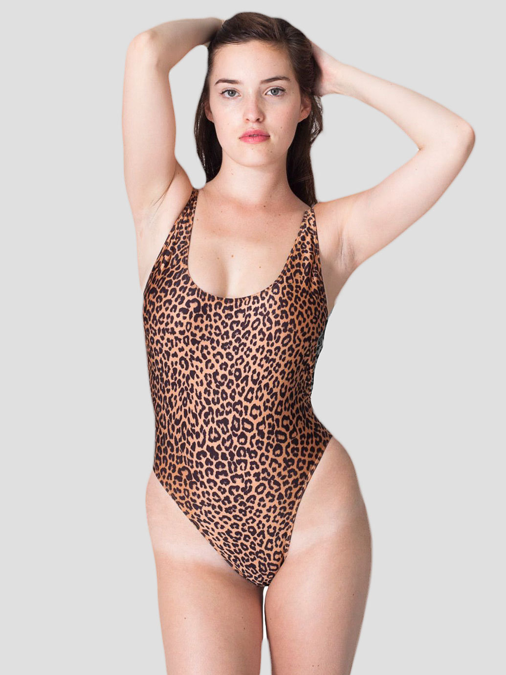 Cheetah Print High Cut One-Piece | American Apparel