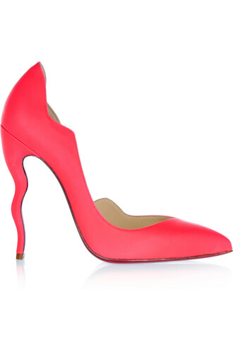 neon pumps leather coral shoes