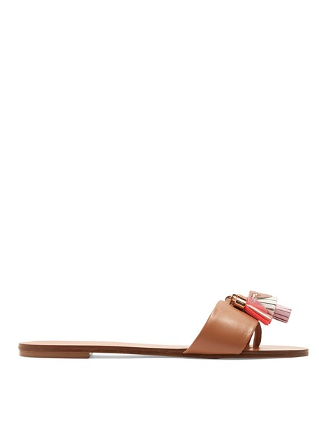 Sophia Webster tassel leather tan shoes